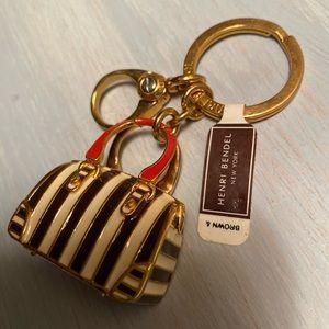 NWT Henri Bendel Striped Tote Keychain